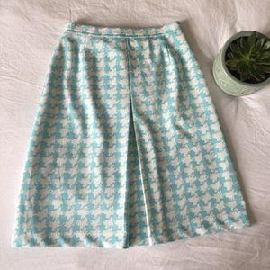 Vintage 1960s Blue & White Houndstooth Skirt